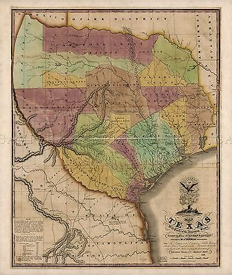 Map Antique Tanner 1837 Texas Old Historic Large Replica Poster Print Pam1238