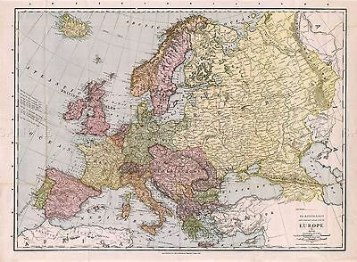 MAP ANTIQUE McNALLY 1912 EUROPE OLD HISTORIC LARGE REPLICA POSTER PRINT PAM1048