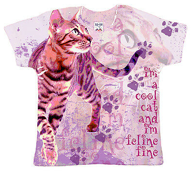 """DF Baby T-Shirt All Over Print """"I'm a Cool Cat..."""" Pretty Girl's Top Cat Kitten"""