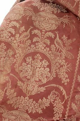 Antique French Pink old silk damask 19th century  curtain drape trim backed ~~