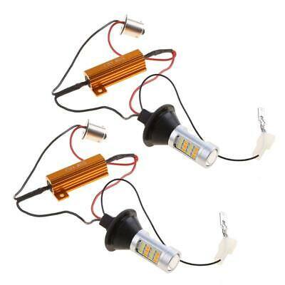 1pair BAU15S 42-LED 2835 SMD 50W Dual-Color Switchback DRL Turn Signal Light Kit