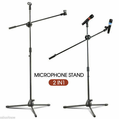 Adjustable Microphone Stand Foldable Mic Holder Tripod Two Clip Boom AU STOCK