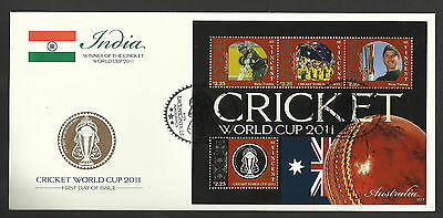 ST VINCENT 2011 ICC CRICKET WORLD CUP AUSTRALIA TEAM RICKY PONTING 4v Sheet FDC