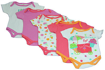 New 5 Pack Pink Purple Ice Cream Vests / Bodysuits - baby girl 0-9 months