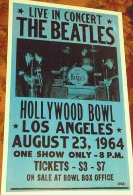 THE BEATLES HOLLYWOOD BOWL LA 1964 60S  CONCERT POSTER california John Lennon +3