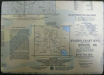 Us Army Escape Evasion Chart Map Evc Nj-38A Iraq Iran Syria 2002 Oif
