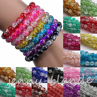10-100 Two Tone Round Glass Crackle Spacer Beads Finding Craft 4/6/8/10/12mm DIY