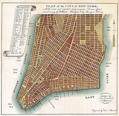 Map Antique 1807 Bridges New York City Plan Large Replica Poster Print Pam1668