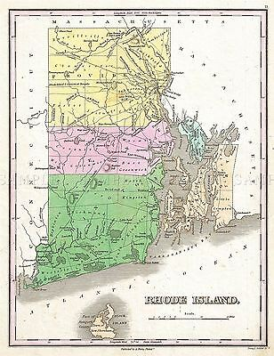 Map Antique 1827 Finley Usa State Rhode Island Large Repro Poster Print Pam1680
