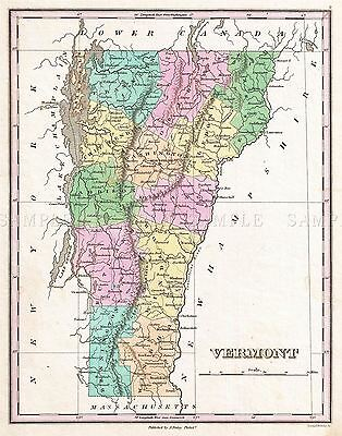 Map Antique 1827 Finley Usa State Vermont Large Replica Poster Print Pam1683