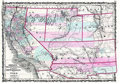 Map Antique 1862 Johnson California New Mexico Utah Replica Poster Print Pam1793