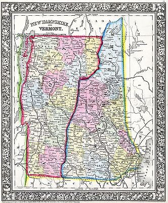 Map Antique 1862 Mitchell New Hampshire Vermont Large Repro Poster Print Pam1807