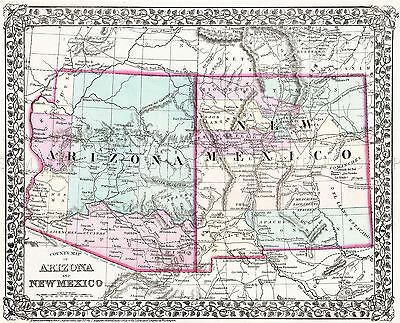 Map Antique 1877 Mitchell Arizona New Mexico Large Replica Poster Print Pam1945
