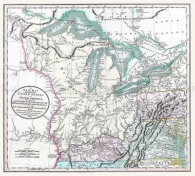 Map Antique 1805 Cary Great Lakes United States Large Repro Poster Print Pam1666