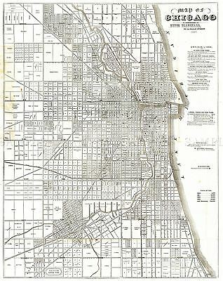 Map Antique 1857 Blanchard Chicago City Plan Large Replica Poster Print Pam1759