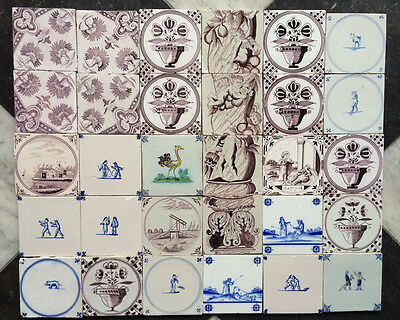 Antique Collection of 30 Mixed Dutch Delft Tiles Flower-Vases, Floral, Angels