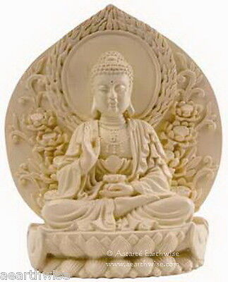 BUDDHA STATUE COLD IVORY COLOURED CAST RESIN Wicca Witch Pagan Yoga