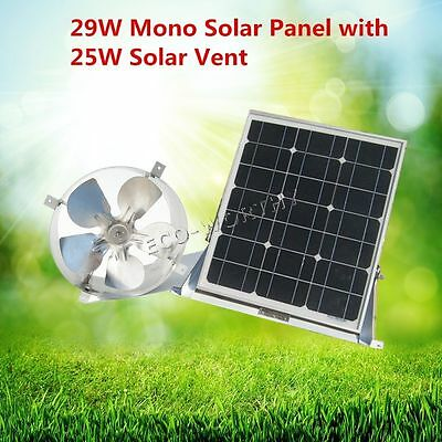 Solar Powered Attic Vent Gable Roof Ventilator Fan Ventilation & 29W Mono Panel
