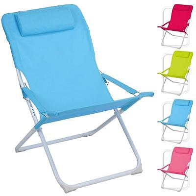 Adjustable Folding Padded Beach Deck Chair Camping Garden Patio Foldable Seat