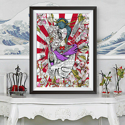 TATTOO PRINT JAPANESE GEISHA DICTIONARY Book Page Background Wall DECOR POSTER