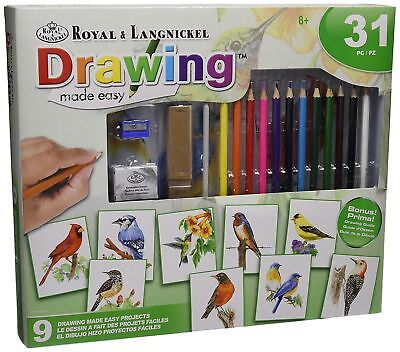 Learn to Draw Garden Birds Colouring Pencils Set Drawing Made Easy Kit AME101