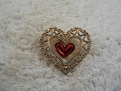 Goldtone Filigree Red Pendant Heart Tac Pin  (D24)