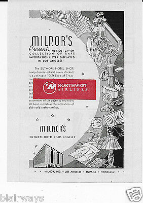 The Biltmore Hotel Los Angeles 1938 Milnor's Gift Shop Of Treasures Ad