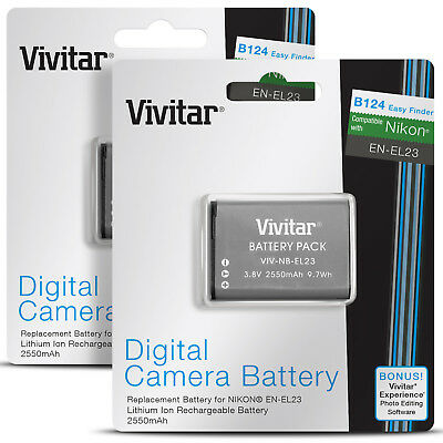 2 Pack Vivitar EN-EL23 Battery for Nikon Coolpix B700 P900 S810c P610 P600