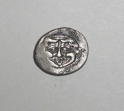 Ancient Greek Mysia, Parion. 400 - 350 BC. AR Hemidrachm. Gorgon, Cow