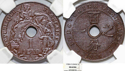 French Indo-China. AE 1 Cent 1938. NGC MS62 BN