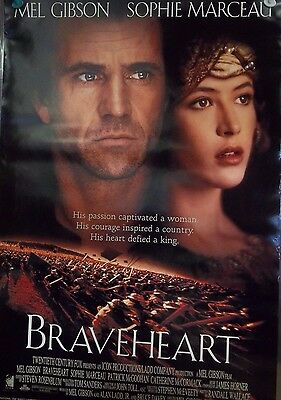 1995 BRAVEHEART (C) Mel Gibson Sophie Marceau Original Double Sided Movie Poster