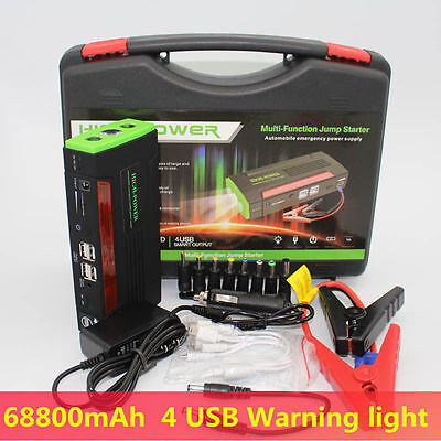 AU 68800mAh Vehicle Car Jump Starter Booster Battery Power Bank 4USB Charger 12V