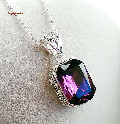 Black Filigree Amethyst Square Drop Made with Swarovski Crystal Necklace N72