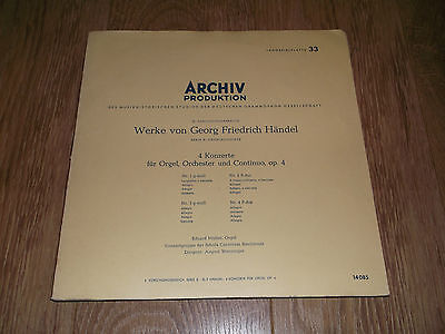 Eduard Muller ( Organ ) Handel ~ Archive Production Vinyl Lp Ex/ex