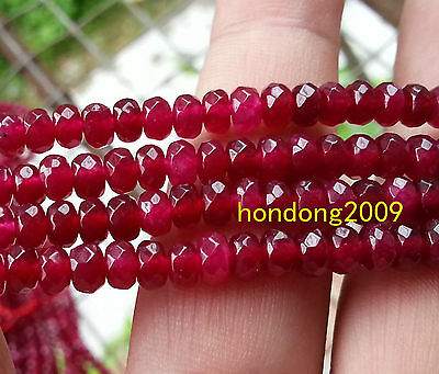 Natural 3x5mm Red ruby Faceted gemstone Beads 15inch