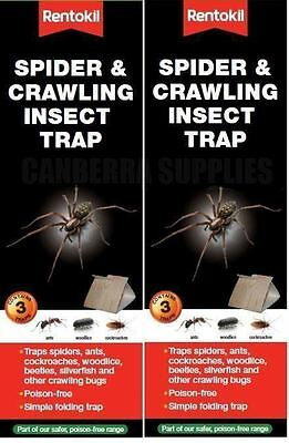 6 x RENTOKIL SPIDER & CRAWLING INSECT TRAP - ANTS WOODLICE COCKROACHES