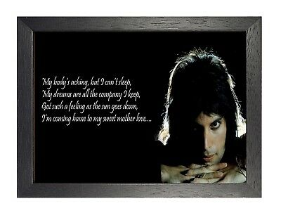 Freddie Mercury 9 Lyrics Photo Queen Rock Band Picture Vintage Music Poster
