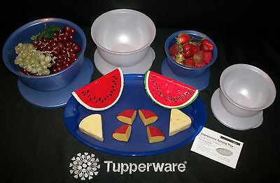 Tupperware NEW 9pc JEWEL Impressions 4 Bowls 5 10 18cups ~Oval Serving Tray NOS