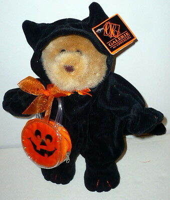 Adorable Halloween Teddy Bear in a Black Cat Costume