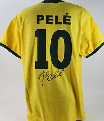Pele Authentic Signed Yellow Brazil Soccer Jersey Autographed PSA/DNA