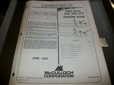 mcculloch pro mac 355,365,375 chainsaw,illustrated parts list,vintage chainsaw