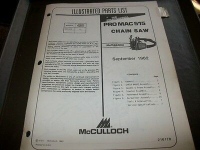 mcculloch pro mac 515 ,1982 illustrated parts list,vintage chainsaw
