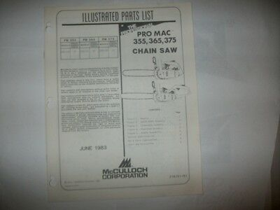 mcculloch chainsaw,pro mac 355/365/375 illustrated parts list,vintage chainsaw