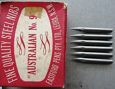 6 VINTAGE RARE OLD/NEW EASTFORD AUSTRALIAN #9 PEN NIBS+DRAW+CALLIGRAPHY+