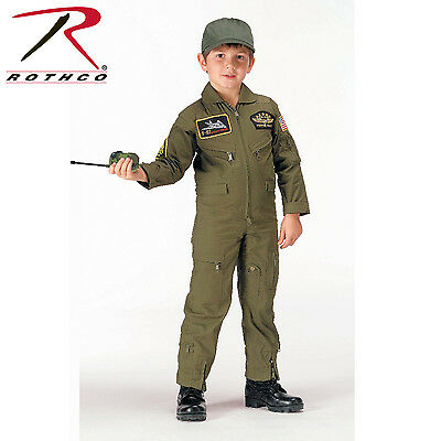 Rothco 7302 Kid's Flight Coverall With Patches - Olive Drab