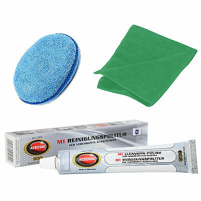 Solvol Autosol CHROME PLATED PLASTIC Cleaner Polish + Microfibre Pad & Cloth
