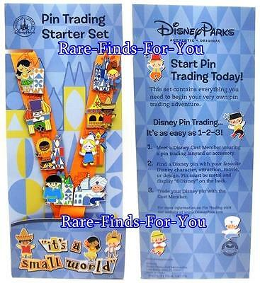"""Disney Theme Parks """"It's A Small World"""" Lanyard and 8 Pins Trading Set (NEW)"""
