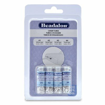 Beadalon CRIMP TUBES 600 Pieces 4 Sizes Item #305B-121 SILVER PLATED