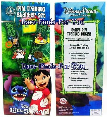 """Disney Theme Parks """"Lilo and Stitch"""" Lanyard and 4 Pin Trading Starter Set (NEW)"""
