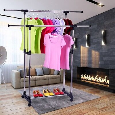 Double Rail Adjustable Portable Clothes Hanger Rolling Garment Rack TOP SELLER